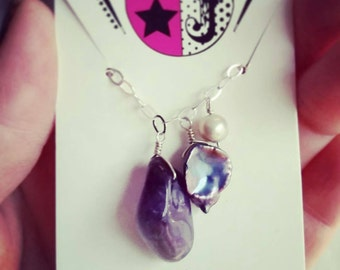Amethyst and Freshwater Pearl Charm Necklace