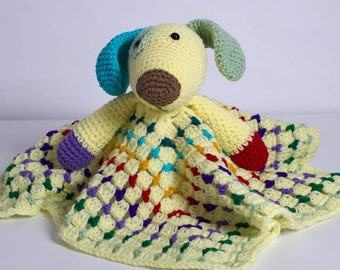 Puppy Lovey - Security Blanket - Crochet Baby Afghan - Scrappy the Happy Puppy Lovey - Amigurumi - Baby Blankie - Plush Toy - Dog Lovey