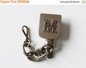 CLOSING 50% belt clip chain vintage chain belt hook with monogram M key ring holder