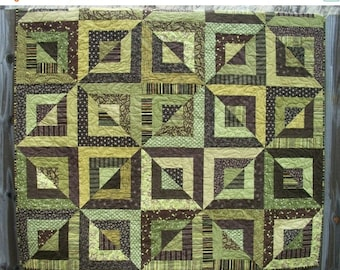 CIJ SALE Geometric Quilt Green Brown Quilted Beveled Blocks Quiltsy Handmade FREE U.S. Shipping