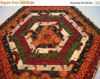 CIJ SALE Fall Table Topper Quilted Autumn Hexagonal Quiltsy Handmade FREE U.S. Shipping