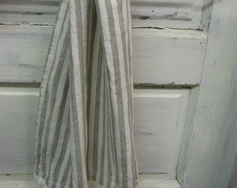 One Pair of Washed Linen Tea Towels-Natural Linen Stripe or Neutral Solid Color Options-Two Ruffled Washed Linen Hand Towels