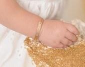 1st birthday bracelets, ID Bracelet, engraved, sterling silver, 14k yellow gold, rose gold, Little Girls name bracelets, birthstone, KATE