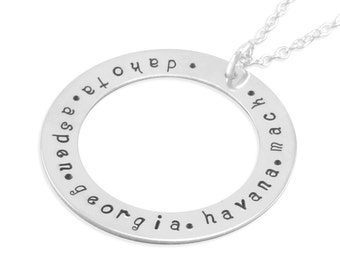 Family Circle Loop, engraved, Washer Name Necklace, Mother's Day gift sterling silver personalized necklaces birthday gift, family, DAKOTA