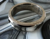Vintage Leru Hinged Silver Tone Bracelet with Guard Chain
