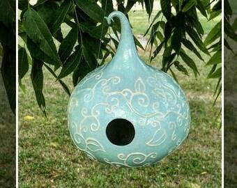 Fairy Birdhouse Gourd Curlyque Whimsical Aqua Blue Turquoise