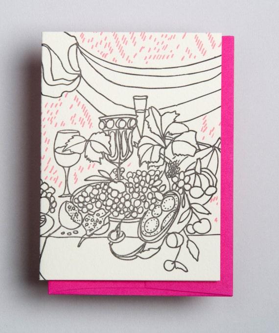 """Letterpress card,  """"Still life (pumpkin)"""""""