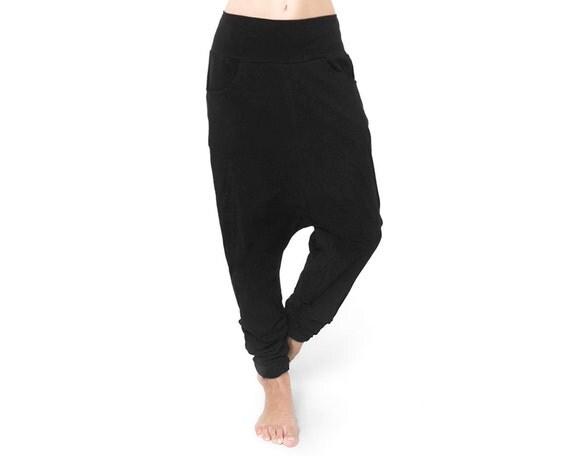 Black Low Crotch Pants - Low Crotch Pants - Baggy Pants - Drop Crotch Pants - Black Sweat Pants - Black Harem Pants - Mens Pants