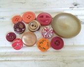 Mixed Button Lot, One Dozen Vintage & New, Red,Orange, Neutral, Craft Sewing Supplies