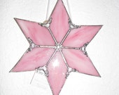 Pink Streaky Glass 6 point star