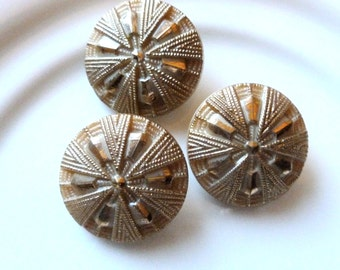 Antique Czech's Buttons, Beige, Caramel Color , Beige and Gold, Circa 1930's,  Button Jewelry, Rare, Button, Glass Buttons, 3 in lot