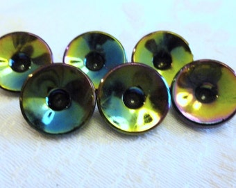 Antique Vintage Czech's Buttons, Black Glas Buttons,  Aurora Borealis Luster,  1930's, Self shank,  Unusual Black Glass Buttons
