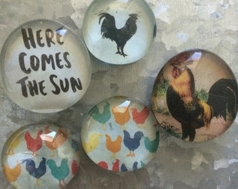 Here comes the sun set of five Glass Magnets