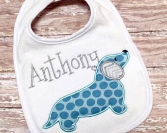 Custom Monogrammed Weiner Dog Baby Bib