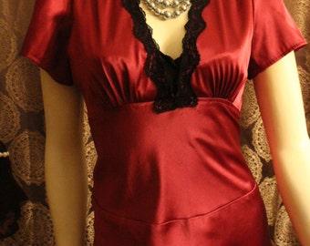 Burgundy and Black lace Vintage Dress