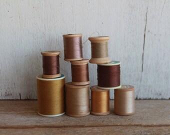 Vintage Thread Spools // Browns & Golds