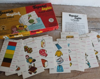 Vintage Spanish to English, English to Spanish Flash Card Game // Edu-Cards // 1973 Flash Card Game