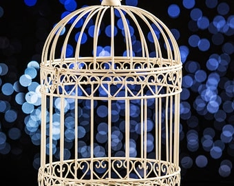 Decorative Cream Bird Cage Centerpiece for cards or candles