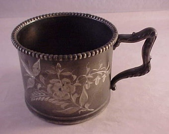 Pewter Cup Etched Flower Design