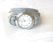 Leather Wrap Watch Bracelet, metallic silver