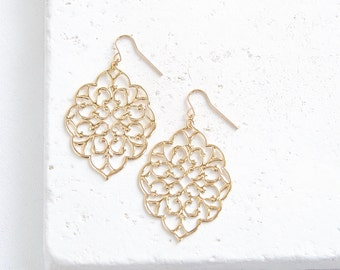 Lace Filigree Earrings   large gold or silver drop earrings   Ready to Ship