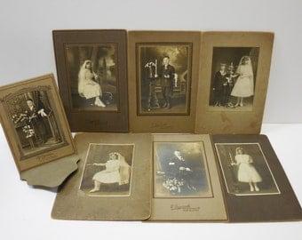 7 antique photographs Religious portraits Communion Confirmation Boys Girls