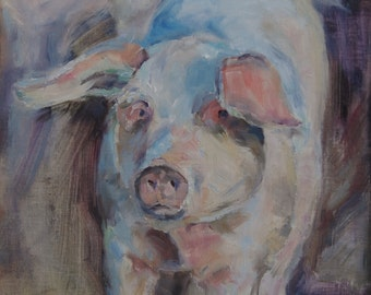Pig Painting, Piglet, Farm Animal, Farmhouse, Nursery Art, Country Chic, Animal, Impressionistic, Baby Animal