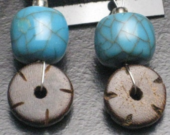 Turquoise Dyed Resin and Wood Earrings