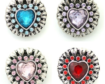 Snap charm will fit your Ginger Snaps Jewelry. 20 mm heart snap charms for snap jewelry.