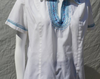 Vintage 70's greek hippie blouse hand embroidered cotton summer shirt boho Sz L by thekaliman