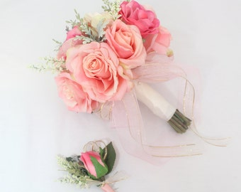 Bridal Wedding Bouquet - Blush, Pink Rose, Dusty Miller Accents Brides Wedding Bouquet, Boutonniere, Pink, Ivory and Gold Ribbon