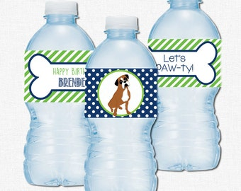 Puppy Water Bottle Labels, Puppy Party Decorations, Boxer Dog Birthday, Printable Bottle Wraps, Blue and Green