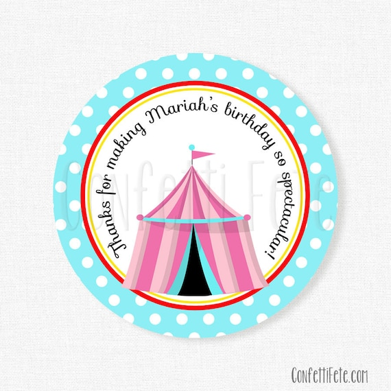 Circus Favor Tags, Circus Birthday, Carnival Party Tags, Thank You Tags, Birthday Favors, Girl Birthday Favors, Personalized
