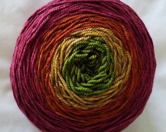 "Hand Dyed Gradient SW Merino/Yak/Silk  Fingering Yarn ""Bollywood"""