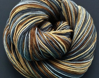 "Hand Dyed Sock Yarn  SW Targhee Wool /Nylon ""Pebble Beach"""