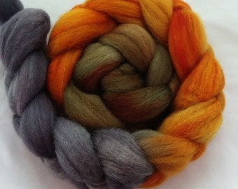 "Our Special Blend Hand Dyed BFL/Silk 4 Oz ""Canyon Shadows Gradient"""