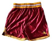 CIJ 40% off sale // Vintage 80s 90s Basketball Athletic Shorts // Men XL Betlin // made in America, maroon gold