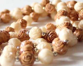 50% half off sale // Vintage 60s Long Brown and Ivory Carved Rose Flower Beaded Necklace, Plastic Beads