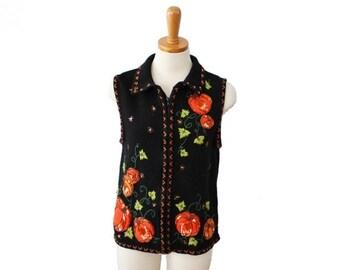 back to school sale // Vintage 90s Pumpkin Sequin Halloween Sweater Vest // Women Large