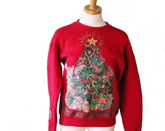 back to school sale // Vintage Ugly Christmas Sweater - Red Novelty Woodland Creatures Tree animals Deer Sweatshirt - Women M Men S