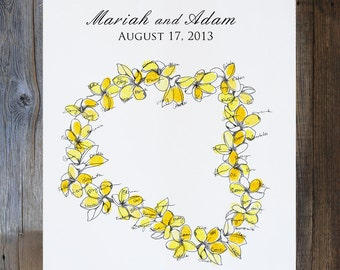 Aloha New Design, Small Lei, Original guest book fingerprint wedding art (ink pads available in our shop)