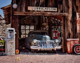 1943 Cadillac, southwestern decor, old Cadillac photograph, man cave art, garage art, rusty old car/ old auto garage| Fathers Day Gift