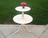 VINTAGE TIERED SHABBY CHIc Table Romantic Shabby Chic Two Tier Side Table White Painted Side Table Cottage Style at Retro Daisy Girl