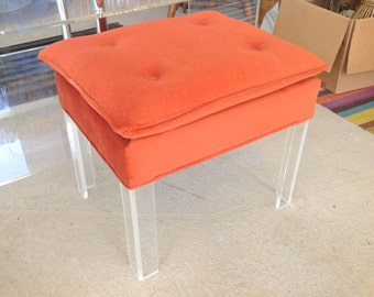 LUCITE LEG BENCH Hollywood Regency Style Orange Fabric Cushion / Bench with Lucite Legs Mid Century Style at Retro Daisy Girl