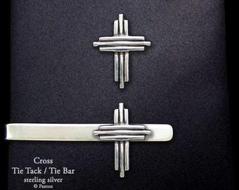 Cross Tie Tack or Cross Tie Bar / Tie Clip Sterling Silver