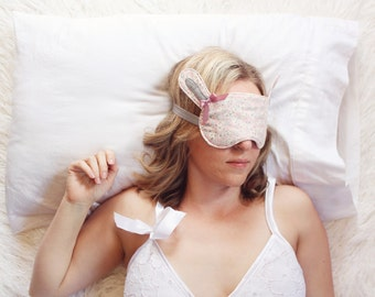 Floral Woodland Bunny Sleep Mask Blindfold with Rabbit Ears Handmade to Order by Ohhh Lulu