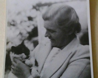 Vintage Englishwoman and Her Cat Photo
