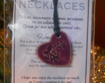 Diffuser Necklace - White Stoneware - Team Valor Glazed