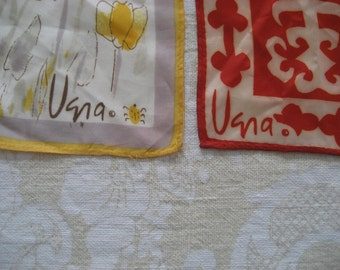 pair of vintage Vera silk scarves from late 60's