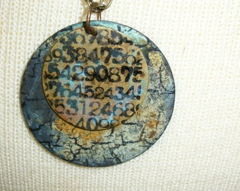 Assemblage Necklace - By The Numbers, Handstamped Original